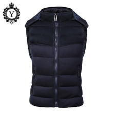 COUTUDI Popular Mens Jacket Sleeveless veste homme Winter Fashion Casual Coats Male Hooded Cotton-Padded Men's Vest Down Jakets