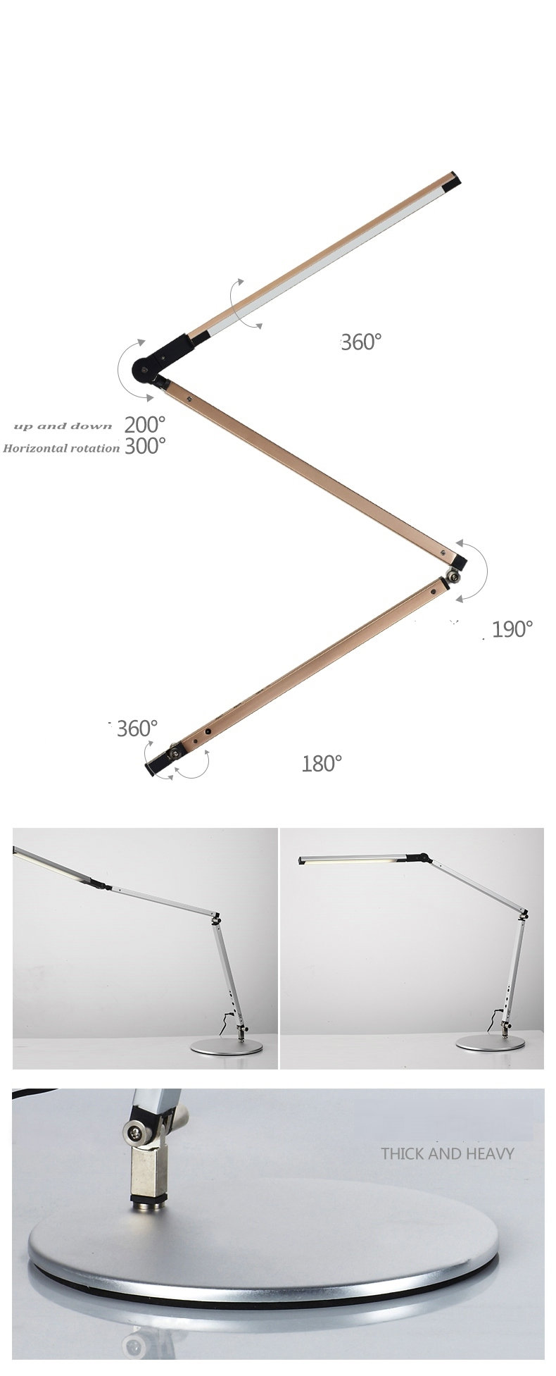 Artpad Energy Saving Modern LED Desk Lamp Dimmer Eye Care Swing Long Arm Business Office Study Desktop Light for Table Luminaire 6