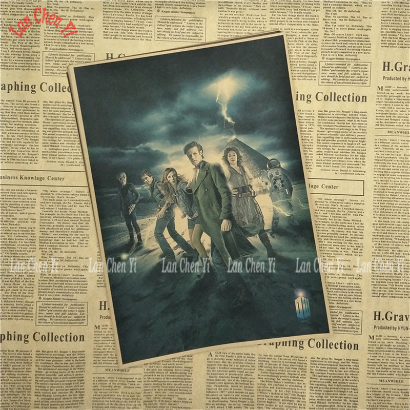 Doctor Who Nostalgic Matte Kraft Paper Poster Office Gift Room Dining Home Decor wall sticker Design