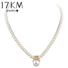 17KM Korean Fashion Imitation Pearls Cute Rhinestone Pendant Necklace Hot Sale Jewelry For Women Wholesale(China)