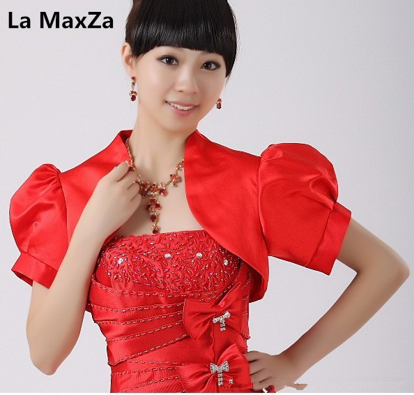 La MaxZa Custom Made Red Bridal Wedding Accessories Satin Wraps Ball Gown Short Sleeve Shrugs Prom Evening Party Jackets Pageant