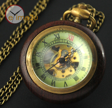 Retro Vintage Wood & Bronze Skeleton Pocket Watch Steampunk Hand Winding Clock Men Lady Antique Gifts