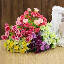 HOT 1 Bouquet 21 Head Artifical Fake Rose Weeding Party Home Decor Silk Flower 91W6(China)