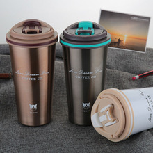 500ML Thermos Mug Coffee Cup with Lid Thermocup Seal Stainless Steel vacuum flasks ThermosesThermo mug for Car My Water Bottle(China)