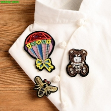 New High-quality Embroidery Hand beading patch  Rhinestone Hot Air Balloon/bear/honeybee applique  sew-on DIY 1 order=3pcs=1 set