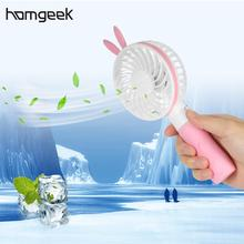 Homgeek Mini USB Rechargeable Fan Portable Handheld 2 Speed Adjustable Fan with Neck Lanyard for Travel Outdoor