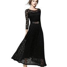LA-TEE-DA!Spring Summer Autumn 2017 Women Lady New Fashion Sexy Lace Slim Sashes O-Neck Elegant Long Dating Dinner Party Dresses