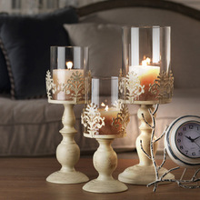 3 Size Elegant Candle Holder Cube Stand Candle Candlestick Metal Base Craft Votice large Glass Candles Wedding Candle Holders(China)
