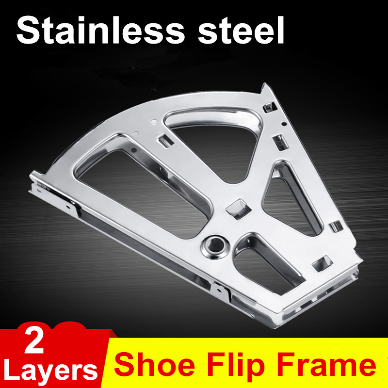 1 Pair Stainless Steel Shoe Rack Flip Frame 2 Layers option Shoes Hinge Hidden Gray color Bracket<br>
