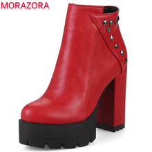 MORAZORA 2018 new fashion shoes woman round toe autumn winter ankle boots for women sexy platform party shoes high heels boots(China)