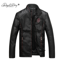 DAVYDAISY Autumn Winter Motorcycle PU Leather Men Jacket Stand Collar Thick Male Jackets Outwear Coat Faux Leather Coats JK035(China)