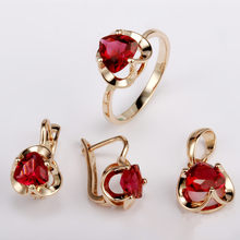 Engagement Jewelry Sets Office Style Rose 585 Gold Color Women Jewelry Red  Cubic Zirconia Necklace Ring Earring Sets 36cd9c11181f