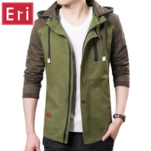 Brand Jacket Men 2017 Fashion Male Jackets Zipper Military Jacket Coats Slim Fit Mens Jackets Windbreaker With Hat 3XL X384(China)