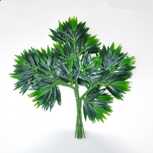 10PCS/lot Plastic Bamboo Leaves Artificial Plant Branches Salon Decoration Photographic Green Decoration 48PCS Leaves(China)