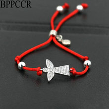 BPPCCR Girls And Boys Cute Angel Wings Charm Bracelets Micro Pave CZ Crystal Red Rope String Thread Bracelets Lovers Pulseras(China)