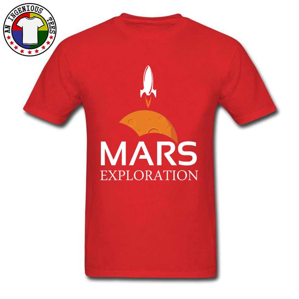 Mars-Exploration-Space-Rockets Design Tops Shirt Short Sleeve for Men All Cotton Autumn Crew Neck T Shirts Normal Tees Slim Fit Mars-Exploration-Space-Rockets red