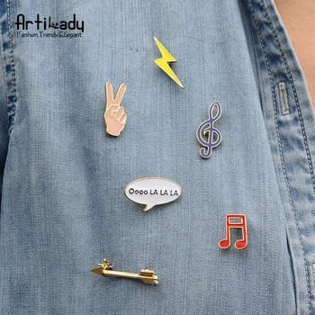 Artilady mode d'été coloré émail broche pins set belle note flèche lightning col broche femmes bijoux