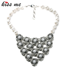 Best Selling Fashion Smooth Round Simulated Pearl Flowers Collar Necklace Bridesmaid Accessories Factory Wholesale(China)