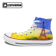 France Eiffel Tower Original Design Custom Converse All Star Men Women Sneakers High Top Hand Painted Shoes Woman Man(China)