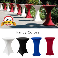 10PCS Tablecloth Large Stretch 80x110cm Bistro Table Cloth White Lycra Spandex Cocktail Dry Bar Table Covers for Weddings Event