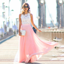 Women Sexy Crochet Lace Dress 2017 Summer Elegant O neck Sleeveless Maxi Party Dresses Chiffon Vestidos Long Robes Longue Boho