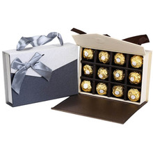 12 cavities Chocolate Valentine gift box candy packaging box with Bow 2 colors 16*12*4cm chocolate packing box