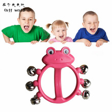 Orff world Funny Red Frog Rattle 6 Bells Kids Baby Toys Bright Color Non-toxic Loud Sound Easy Hand Drum Tambourine(China)