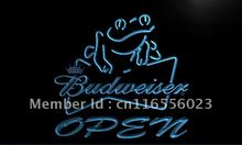 LA034- Budweiser Frog Beer OPEN Bar   LED Neon Light Sign     home decor shop crafts