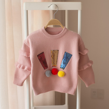 New 2018 Spring and Autumn Children's Baby Sweater Girls Cartoon Round Collar Sleeve Long Sleeve Sweater kids sweaters()