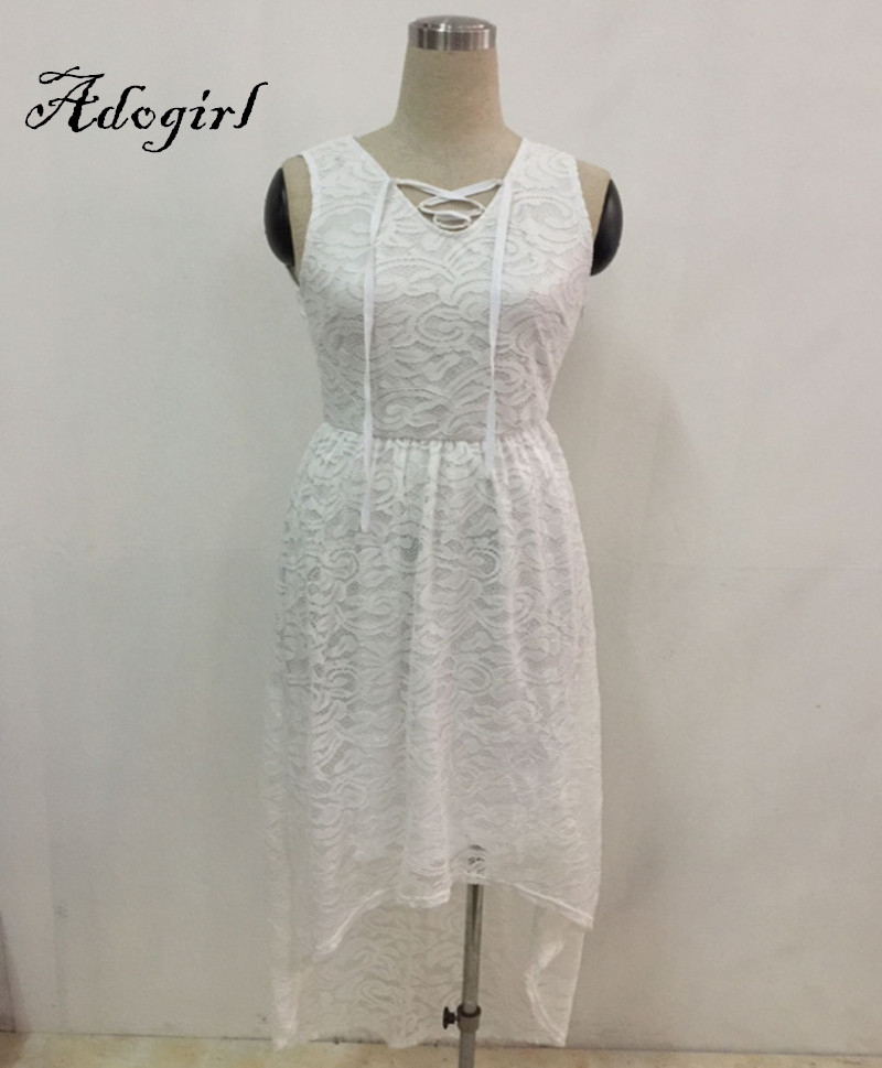Adogirl 2017 Summer Sexy White Lace Plus Sizes 3XL 4XL Hi-Low Dresses-4