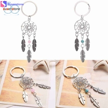 SUSENSTONE Dreamcatcher Feather Tassel Keychain Bag Handbag Ring Car Key Pendant(China)