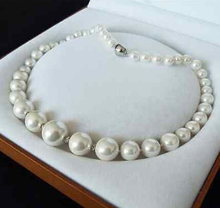 GENUINE 8-16MM WHITE SOUTH SEA SHELL PEARL NECKLACE JEWELRY 18'' AAA style Fine Noble real Natural free shipping