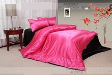 Hot Pink black natural mulberry silk  bedding set solid king size queen  sets duvet cover bed sheet bedspread