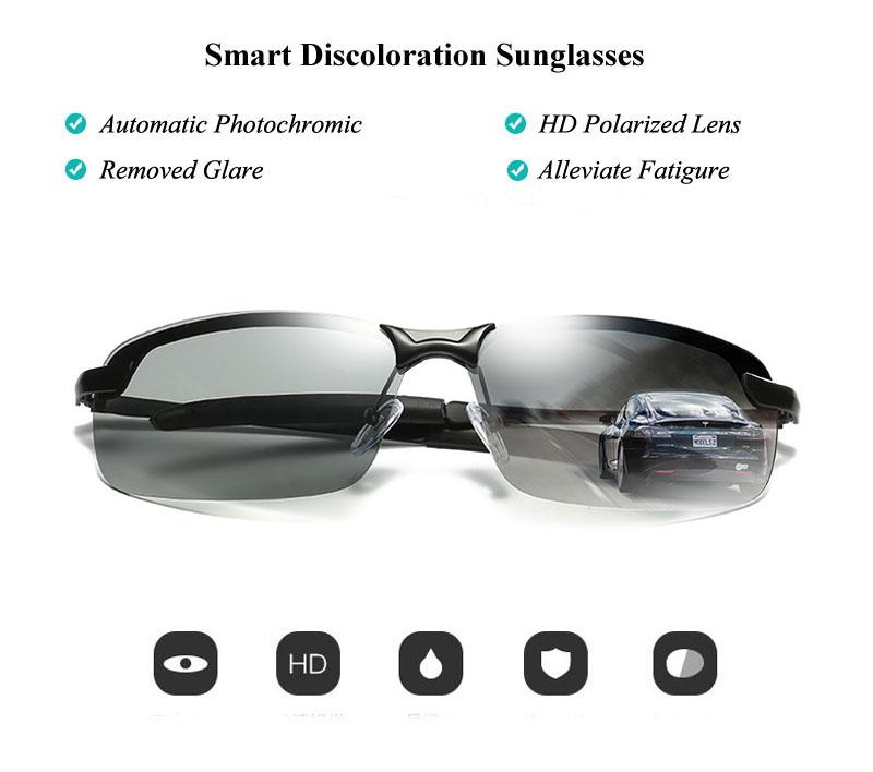 RoShari New photochromic Sunglasses men top quality All-weather Discoloration Professional driving Sun glasses men oculos D3043 2