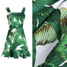 Green banana leaf Reactive dyeing printed Stretch cotton fabric for dress bag table cloth tissu au meter tissus telas patchwork(China)