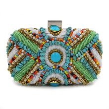 Vintage Style Beading Women Day Clutches One Side Handmade Chain Shoulder Bag For Party Wedding Evening Bags Purse