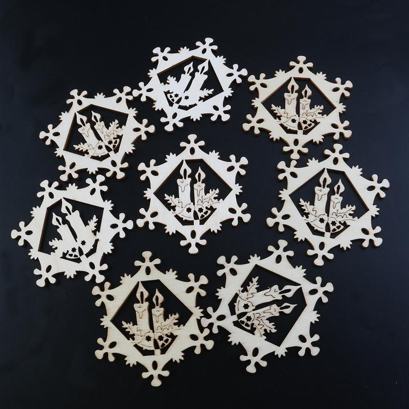 10pcs Christmas Hollow Ornaments Wooden Hanging Snowflake Candle Xmas Decorations with Hemp Ropes(China)