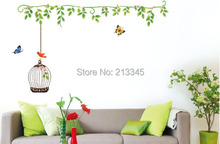 [Fundecor] green Chinese style flower vine Birdcage Wall Stickers removable decorative decals home mural living room