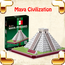 New Year Gift Maya Pyramid 3D Puzzles Model Tower Ancient Building DIY Assemble Game Toy Decoration Kids Papercraft Education(China)