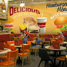 Free Shipping 3D Hamburg theme wallpaper fast food restaurant coffee house bar snack shop wellpaper mural
