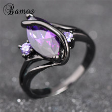 Bamos Charming Purple Cubic Zirconia S Rings For Women Fashion Jewelry Vintage Black Gold Filled February Birthstone Ring RB0047