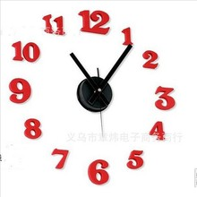 1pcs resell Quiet Stylish black/red color Simple DIY 3D Wall Funny Clock Creative item w/clock movement &needled in retail box(China)