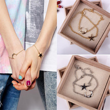 Buy LNRRABC 2 Pcs/Set Chic Simple Style Moon Star Romantic Couple SilverBracelet Jewelry Accessories Friends Bracelet Femme for $1.18 in AliExpress store