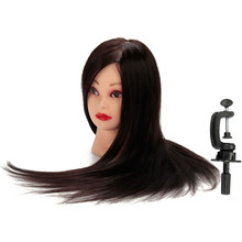 "Mannequin Head Hair 24"" Salon Training Maniqui Hairdressing Doll Heads Hairdresser Black Hair Makeup + Adjustable Clamp"