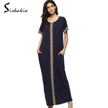 Siskakia moslim dress cotton abaya muslim clothes dress on sale kaftan Dresses for women turkish robe Dark Blue Golden yellow