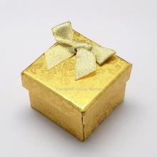 Valentines Day Presents Gift Packages Cube Cardboard Ring Boxes with Bowknot Outside Sponge Inside, Gold,43x43x32mm  24pcs/lot