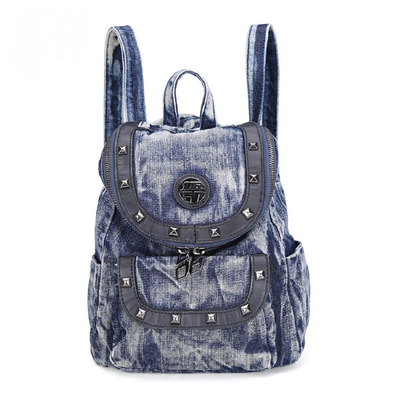 New Fashion Rivet Solid Small Messenger Backpacks DayPacks school Bags Denim Jeans Girls Women Travel Cross Body Bag<br>
