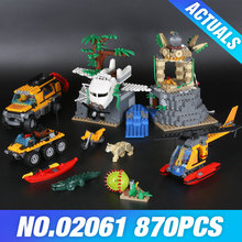 Lepin 02061 Genuine The Jungle Exploration Site Set DIY Toy City Series60161 Building Blocks Bricks Funny Christmas Gift For Kid(China)