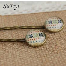 SUTEYI Bohemian Gypsy clover print glass cabochon hairpins for Single copper hair clips girls handmade little christmas Clips