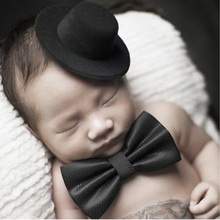 2017 Baby Hat Newborn Baby Photography Props England Style Gentleman Black Cap Hat And Bow Tie New Fashion Photo Props(China)